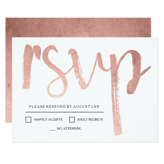 Faux Rose Gold Foil RSVP Card