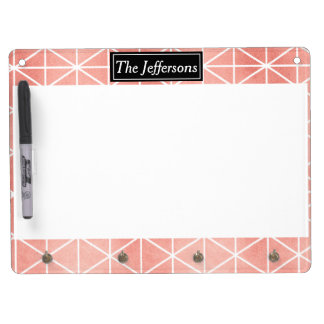 Faux Rose Gold Foil Traingle Pattern Dry Erase Board With Keychain Holder