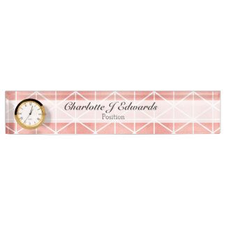Faux Rose Gold Foil Traingle Pattern Nameplate