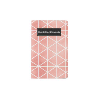 Faux Rose Gold Foil Traingle Pattern Pocket Moleskine Notebook