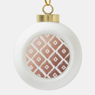 Faux Rose Gold Foil Tribal Pattern Ceramic Ball Christmas Ornament