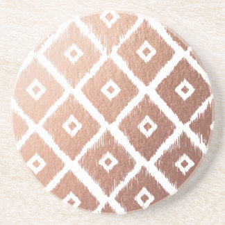 Faux Rose Gold Foil Tribal Pattern Coaster
