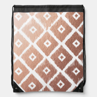 Faux Rose Gold Foil Tribal Pattern Drawstring Bag