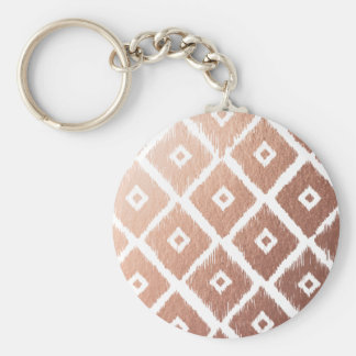 Faux Rose Gold Foil Tribal Pattern Keychain