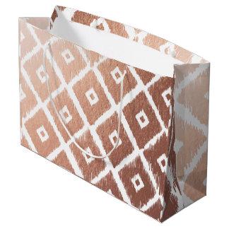 Faux Rose Gold Foil Tribal Pattern Large Gift Bag