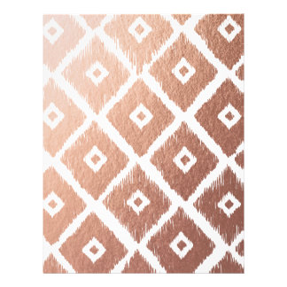 Faux Rose Gold Foil Tribal Pattern Letterhead