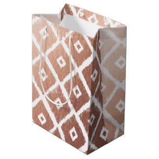 Faux Rose Gold Foil Tribal Pattern Medium Gift Bag