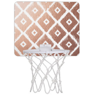 Faux Rose Gold Foil Tribal Pattern Mini Basketball Hoop
