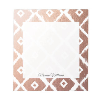 Faux Rose Gold Foil Tribal Pattern Notepad