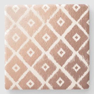 Faux Rose Gold Foil Tribal Pattern Stone Coaster