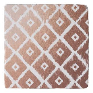 Faux Rose Gold Foil Tribal Pattern Trivet