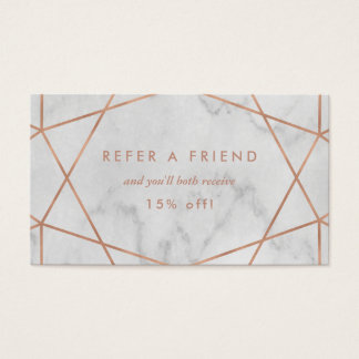 Faux Rose Gold Geometric on Marble Look Referral Business Card
