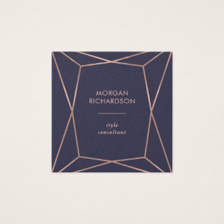 Faux Rose Gold Geometric on Midnight Blue Square Business Card