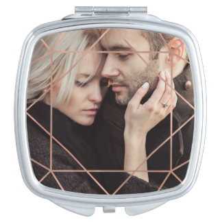 Faux Rose Gold Geometric Overlay with your Photo Mirror For Makeup