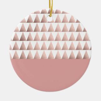 faux rose gold geometric triangles pattern ceramic ornament