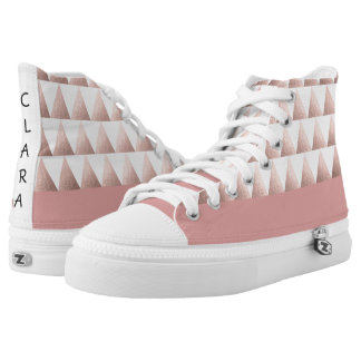 faux rose gold geometric triangles pattern high tops