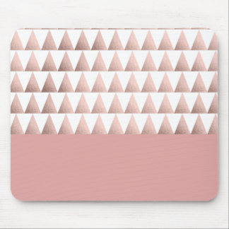 faux rose gold geometric triangles pattern mouse pad