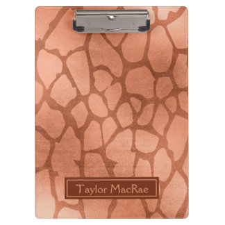 Faux Rose Gold Giraffe Print Personalized Clipboards