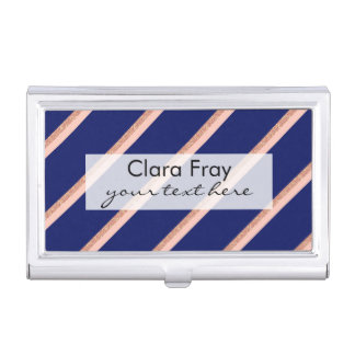 faux rose gold glitter and pink stripes pattern business card holder