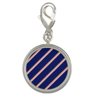 faux rose gold glitter and pink stripes pattern charm
