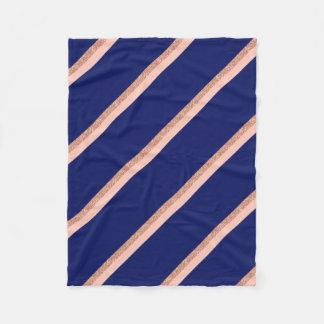 faux rose gold glitter and pink stripes pattern fleece blanket