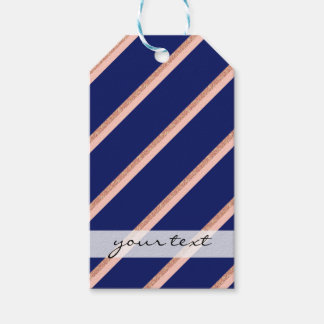 faux rose gold glitter and pink stripes pattern gift tags
