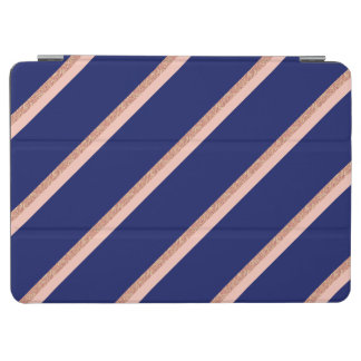 faux rose gold glitter and pink stripes pattern iPad air cover