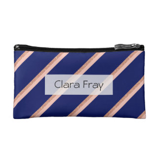 faux rose gold glitter and pink stripes pattern makeup bag