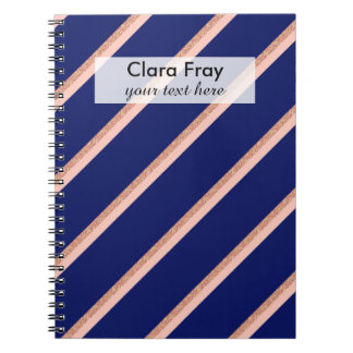 faux rose gold glitter and pink stripes pattern notebook