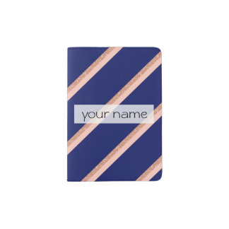 faux rose gold glitter and pink stripes pattern passport holder