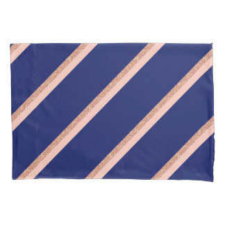 faux rose gold glitter and pink stripes pattern pillowcase