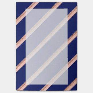 faux rose gold glitter and pink stripes pattern post-it notes