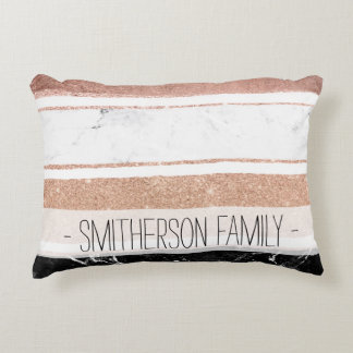 Faux rose gold glitter black white marble stripes accent pillow