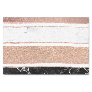 Faux rose gold glitter black white marble stripes tissue paper