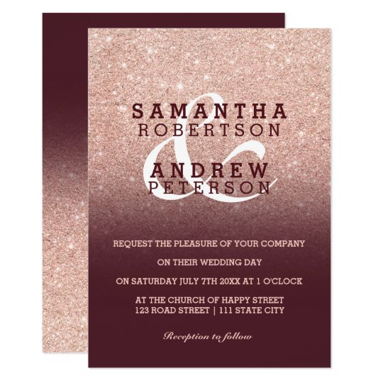 Faux Rose gold glitter burgundy ombre wedding Card
