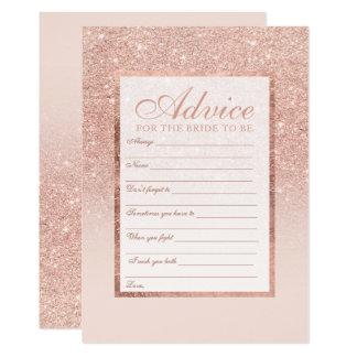 Faux rose gold glitter elegant chic Advice bridal Card