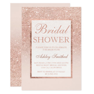 Faux rose gold glitter elegant chic Bridal shower Card