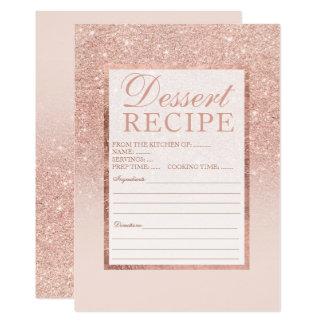 Faux rose gold glitter elegant chic dessert recipe card