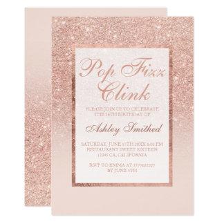 Faux rose gold glitter elegant Pop fizz clink 2 Card