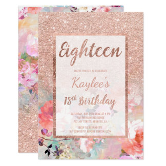 Faux rose gold glitter floral 18th Birthday Card
