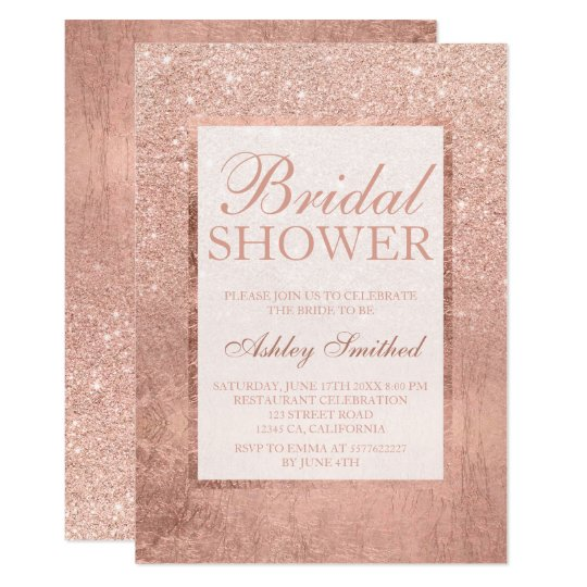 Faux rose gold glitter leaf elegant bridal shower card