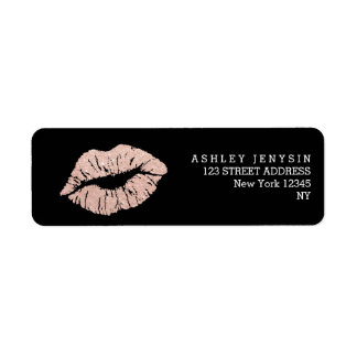 Faux rose gold glitter lips kiss makeup return address label