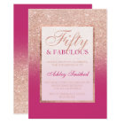 Faux rose gold glitter magenta chic 50 fabulous card