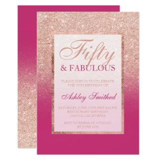 Faux rose gold glitter magenta chic 50 fabulous card