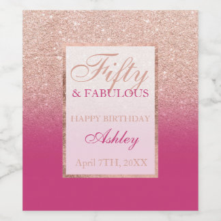 Faux rose gold glitter magenta chic 50 fabulous wine label