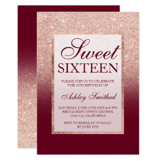 Faux rose gold glitter ombre burgundy Sweet 16 Card