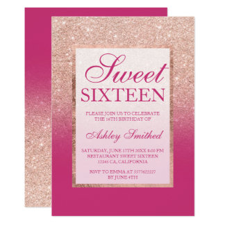Faux rose gold glitter ombre pink magenta Sweet 16 Card