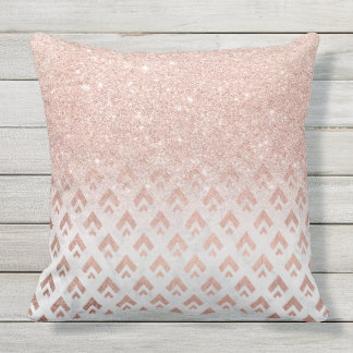Faux rose gold glitter ombre rose gold foil triang throw pillow