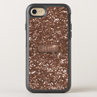Faux Rose Gold Glitter OtterBox Monogram Sparkle OtterBox Symmetry iPhone 8/7 Case