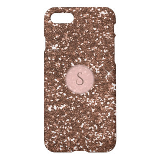 Faux Rose Gold Glitter Round Pink Monogram iPhone 8/7 Case